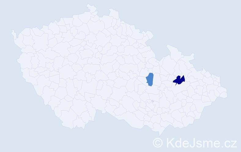 Příjmení: 'Ďuriančíková', počet výskytů 5 v celé ČR
