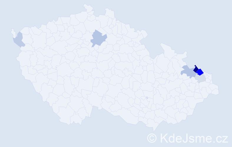 Příjmení: 'Kampíková', počet výskytů 17 v celé ČR