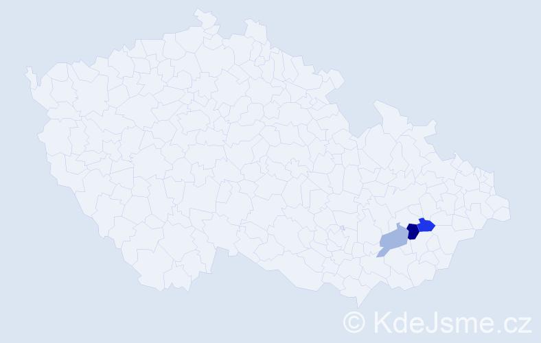 Příjmení: 'Ctiborková', počet výskytů 4 v celé ČR