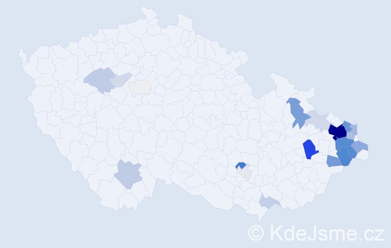 Příjmení: 'Kosňovská', počet výskytů 74 v celé ČR