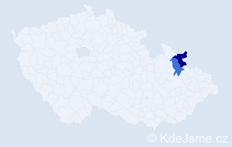 Příjmení: 'Čokrevská', počet výskytů 4 v celé ČR