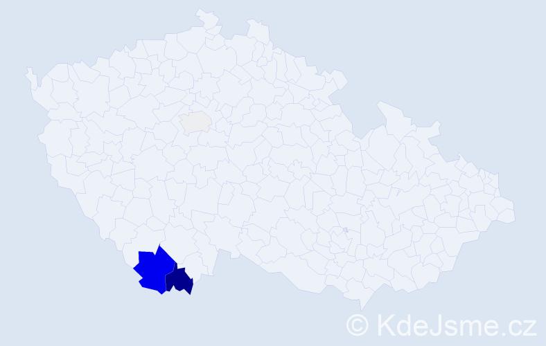 Příjmení: 'Čabelová', počet výskytů 12 v celé ČR