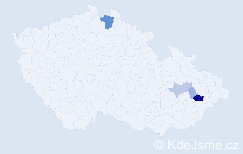 Příjmení: 'Ječmeň', počet výskytů 17 v celé ČR