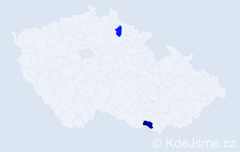 Příjmení: 'Janakieva', počet výskytů 9 v celé ČR