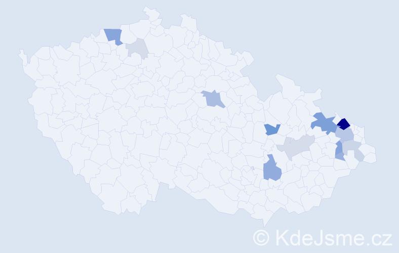 Příjmení: 'Bunček', počet výskytů 50 v celé ČR