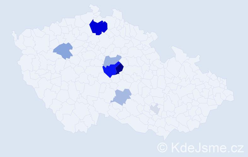 Příjmení: 'Kredl', počet výskytů 14 v celé ČR