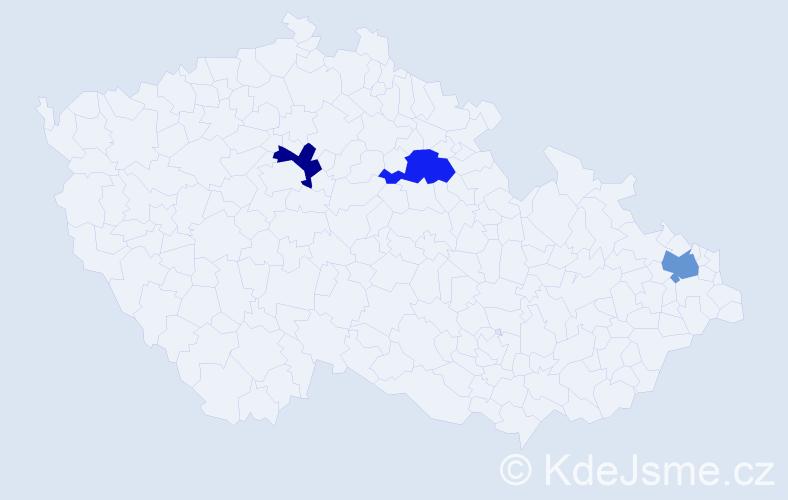 Příjmení: 'Hawlíková', počet výskytů 3 v celé ČR