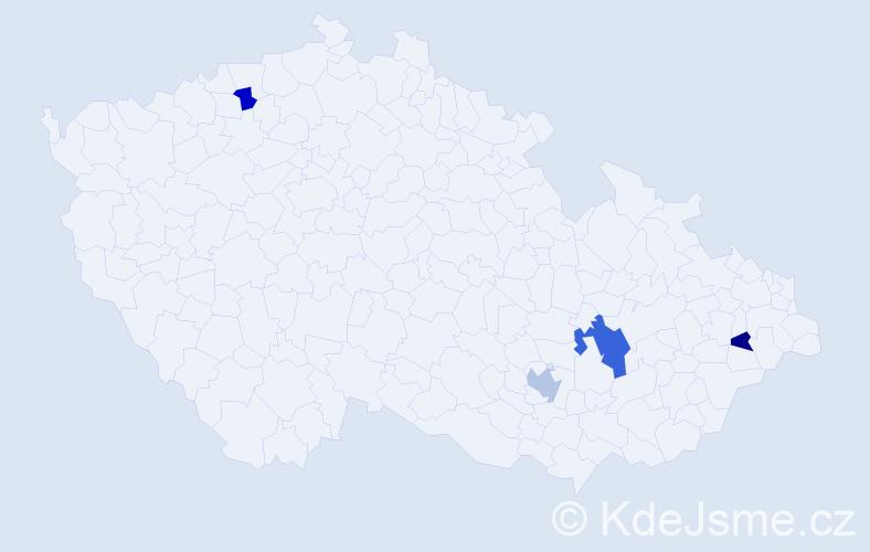 Příjmení: 'Janěk', počet výskytů 12 v celé ČR