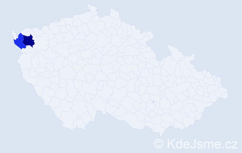 Příjmení: 'Jacilová', počet výskytů 3 v celé ČR