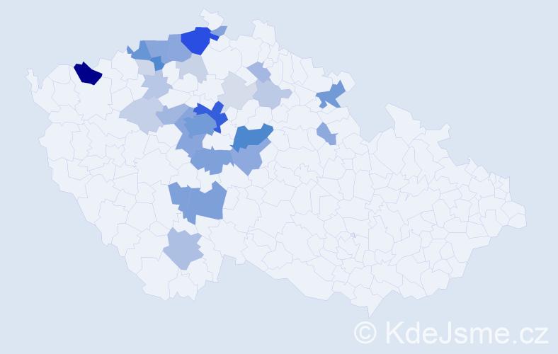 Příjmení: 'Češpivová', počet výskytů 122 v celé ČR