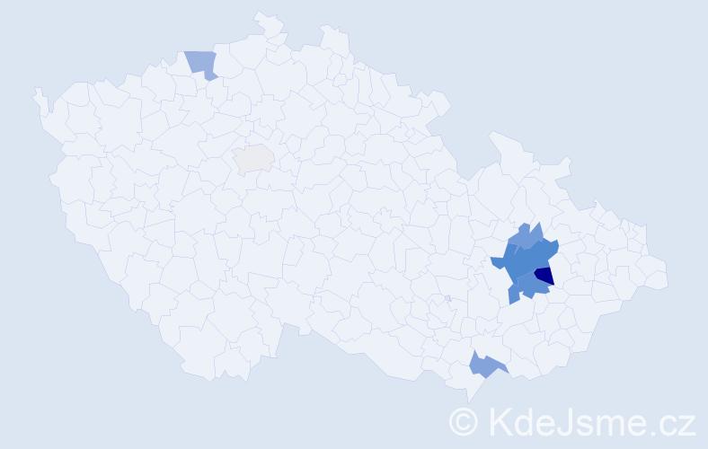 Příjmení: 'Beláček', počet výskytů 19 v celé ČR