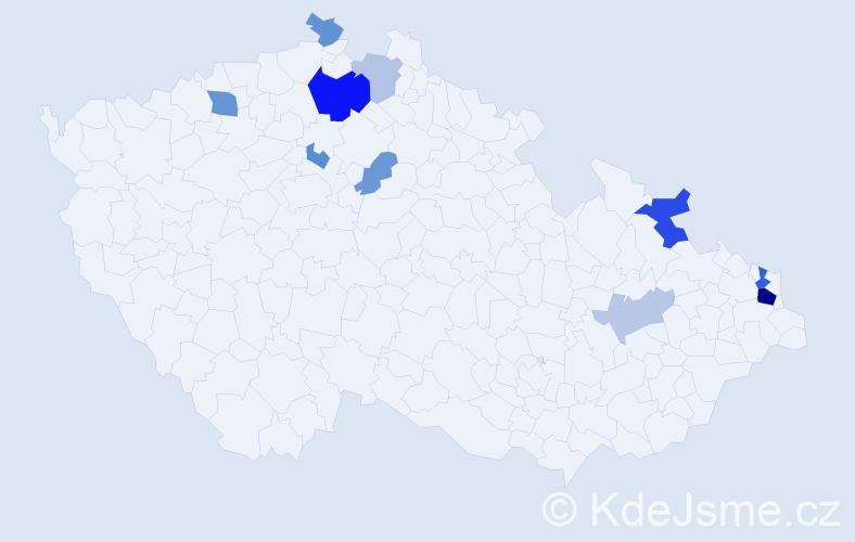 Příjmení: 'Lazár', počet výskytů 21 v celé ČR