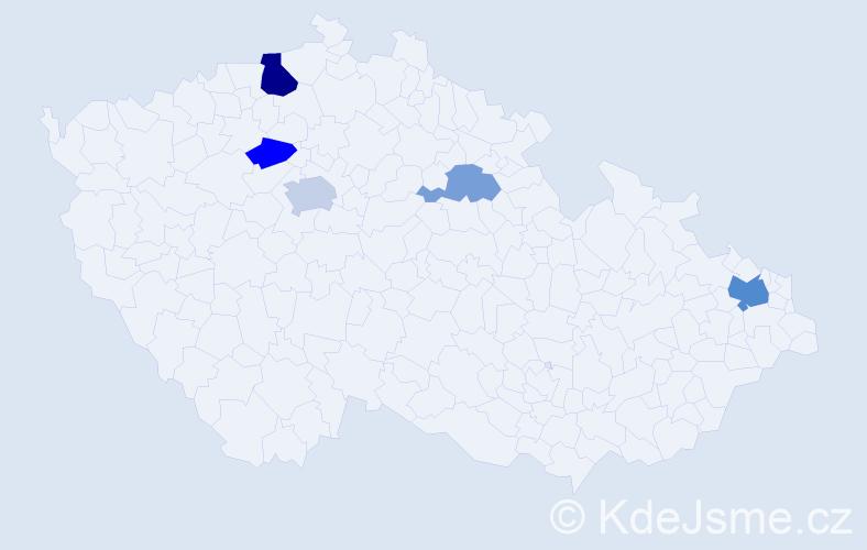 Příjmení: 'Hajniš', počet výskytů 10 v celé ČR