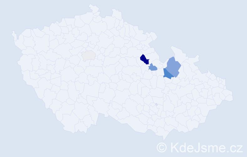 Příjmení: 'Breklová', počet výskytů 9 v celé ČR