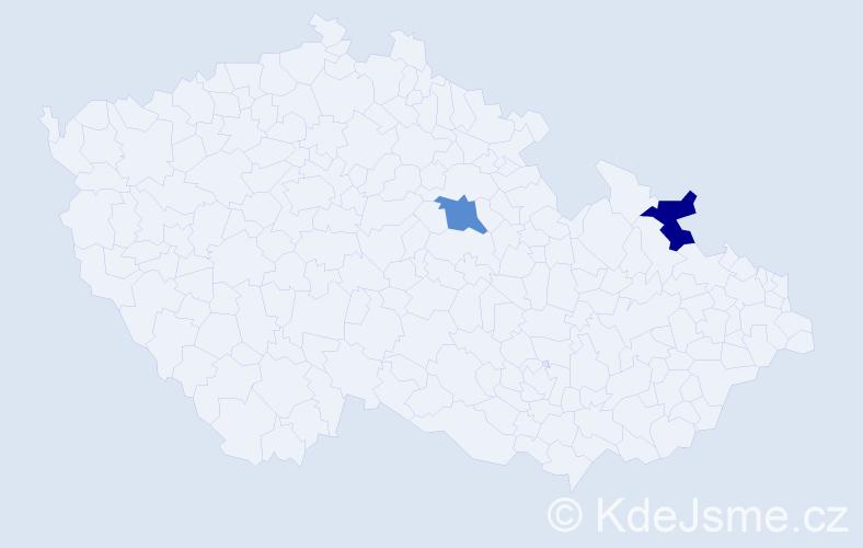 Příjmení: 'Ďurišík', počet výskytů 8 v celé ČR