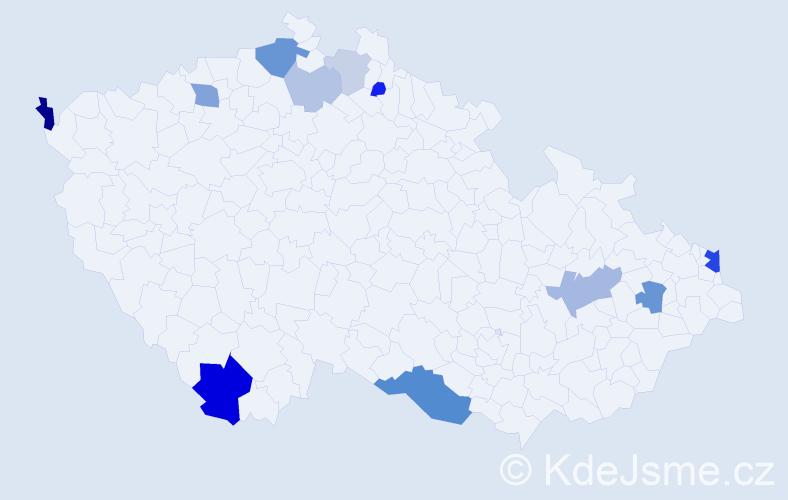 Příjmení: 'Čižmarová', počet výskytů 27 v celé ČR