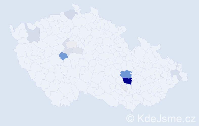 Příjmení: 'Koupý', počet výskytů 52 v celé ČR