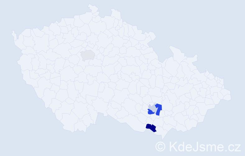 Příjmení: 'Elaginová', počet výskytů 5 v celé ČR