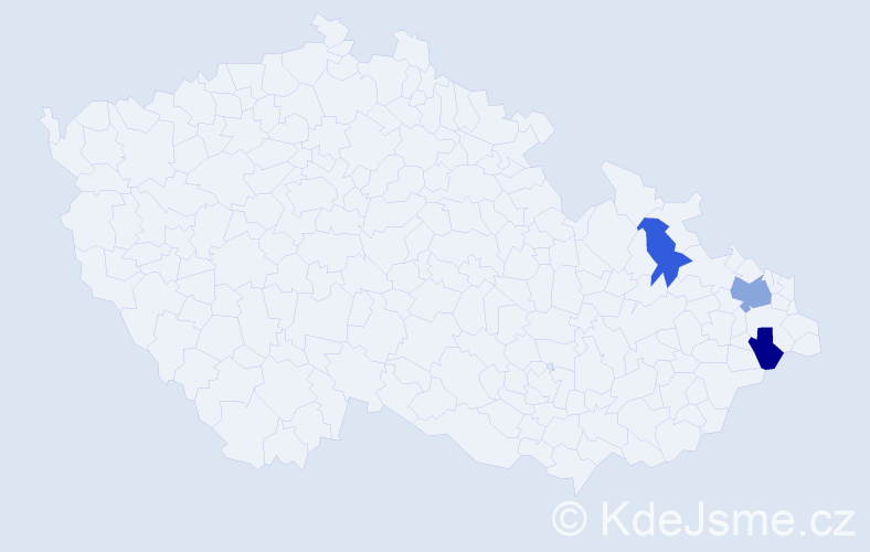 Příjmení: 'Čajanek', počet výskytů 4 v celé ČR