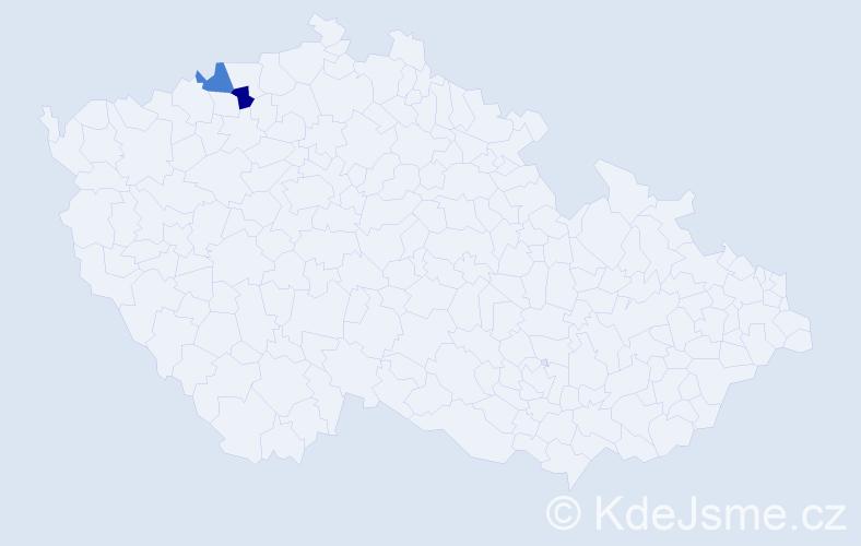 Příjmení: 'Heisz', počet výskytů 2 v celé ČR
