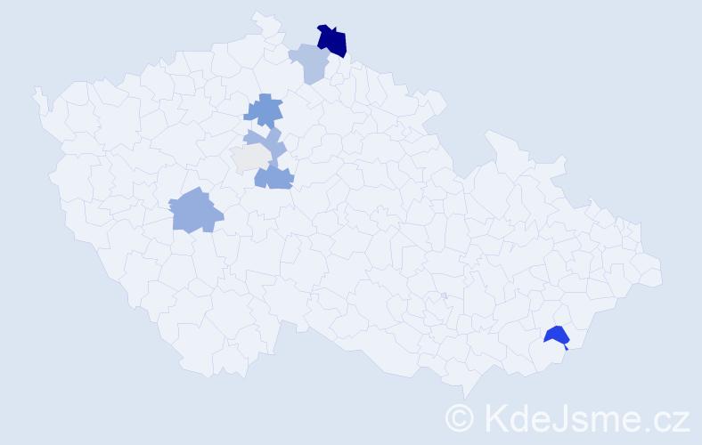 Příjmení: 'Havasiová', počet výskytů 9 v celé ČR
