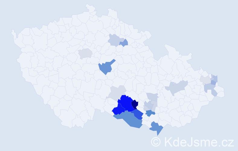 Příjmení: 'Chmelka', počet výskytů 70 v celé ČR