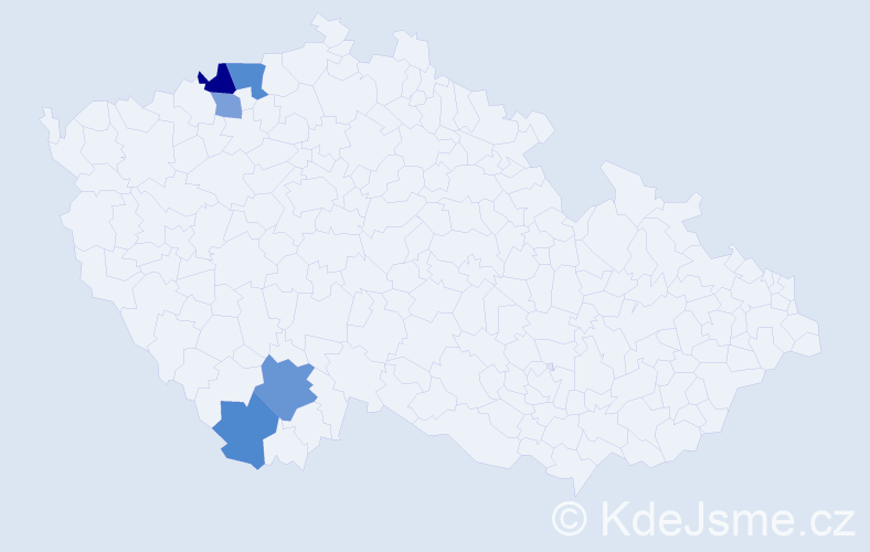 Příjmení: 'Hulič', počet výskytů 8 v celé ČR