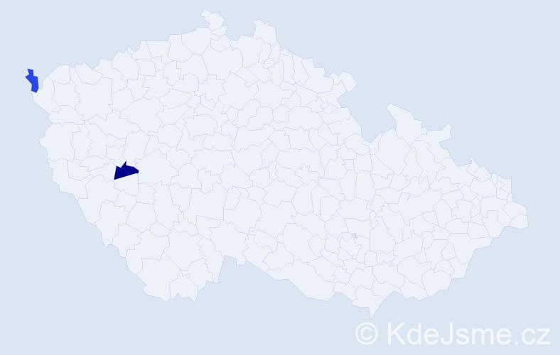 Příjmení: 'Constantinová', počet výskytů 4 v celé ČR