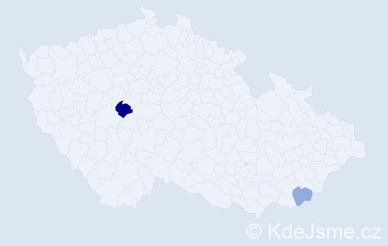 Příjmení: 'Bercová', počet výskytů 3 v celé ČR