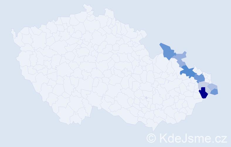 Příjmení: 'Česlar', počet výskytů 23 v celé ČR