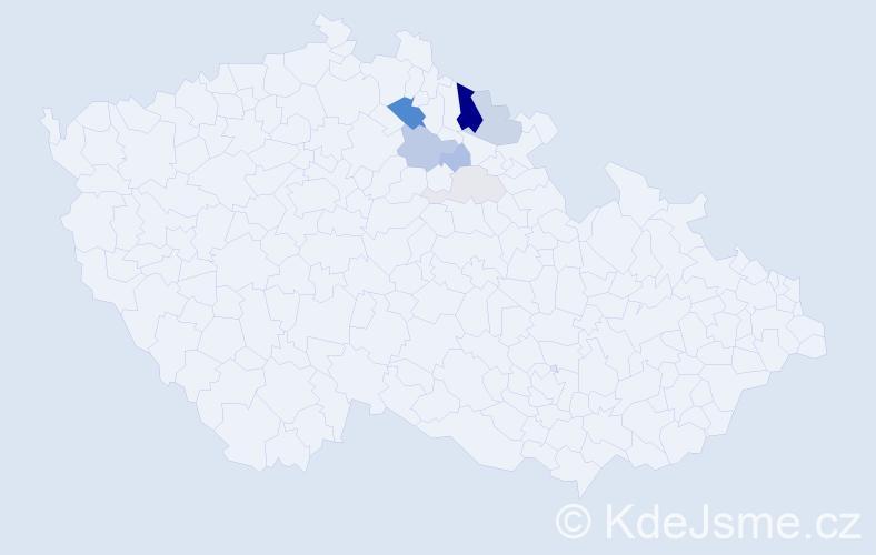 Příjmení: 'Cilerová', počet výskytů 23 v celé ČR