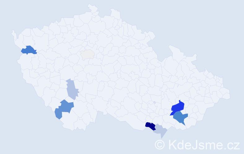 Příjmení: 'Fornál', počet výskytů 23 v celé ČR