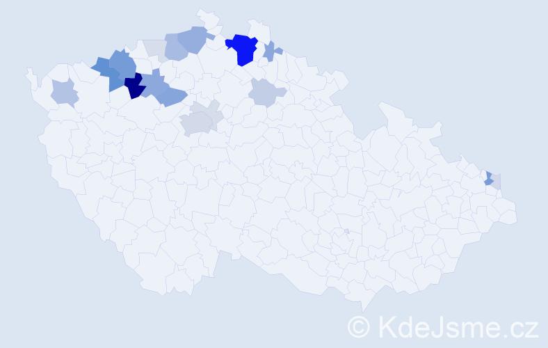 Příjmení: 'Bady', počet výskytů 61 v celé ČR
