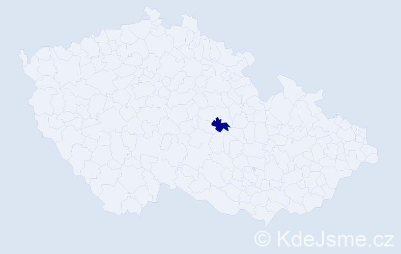 """Příjmení: '""""Hegr Klivarová""""', počet výskytů 1 v celé ČR"""