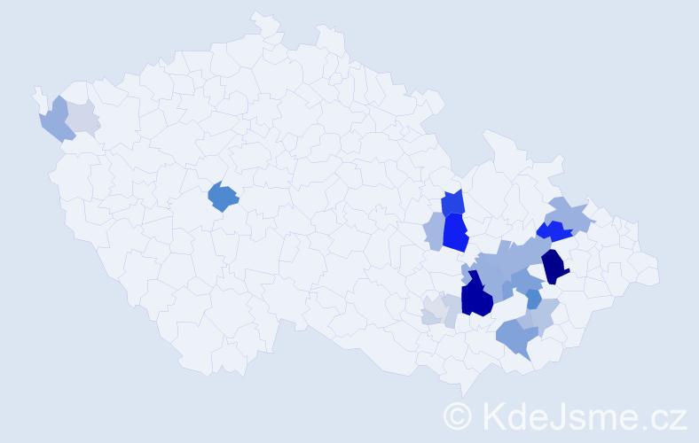 Příjmení: 'Knichal', počet výskytů 58 v celé ČR
