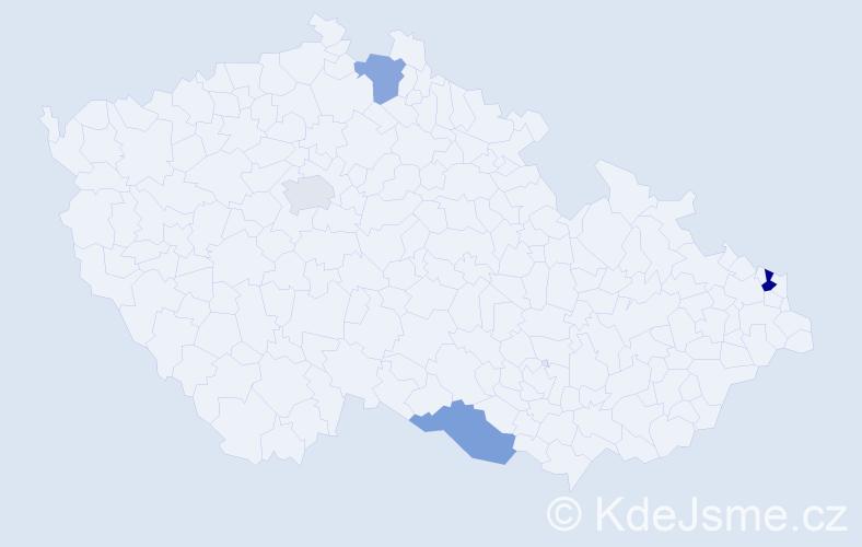 Příjmení: 'Baba', počet výskytů 5 v celé ČR