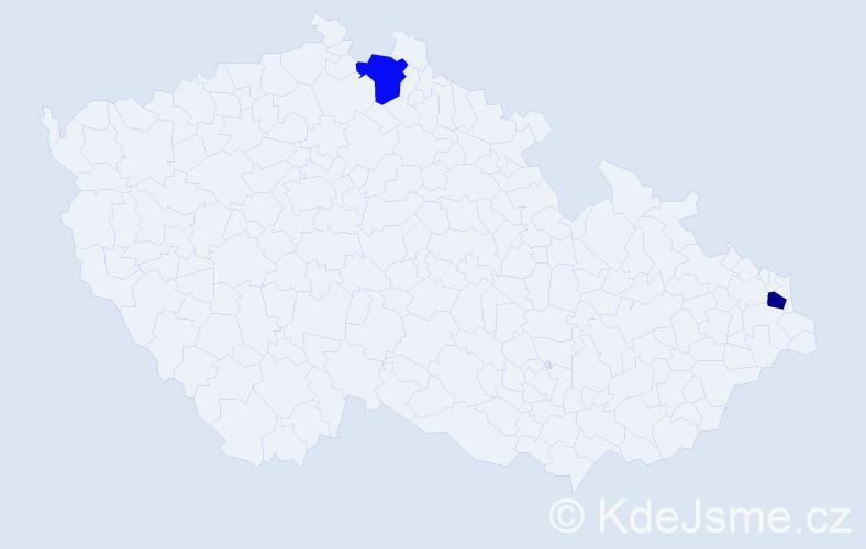 Příjmení: 'Dzurech', počet výskytů 2 v celé ČR
