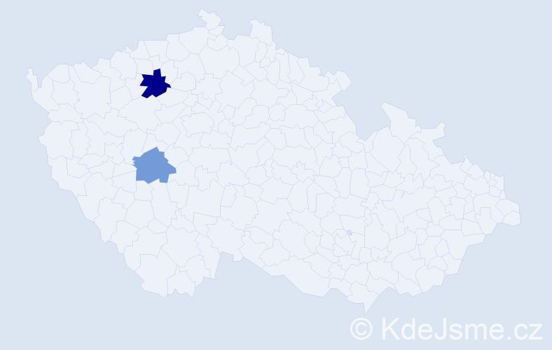 Příjmení: 'Kakoš', počet výskytů 3 v celé ČR