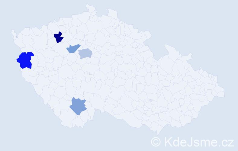 Příjmení: 'Čarada', počet výskytů 7 v celé ČR