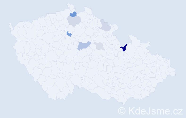 Příjmení: 'Jagerský', počet výskytů 11 v celé ČR