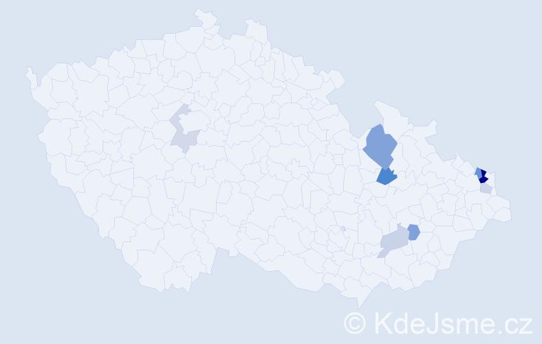 Příjmení: 'Kendiura', počet výskytů 19 v celé ČR