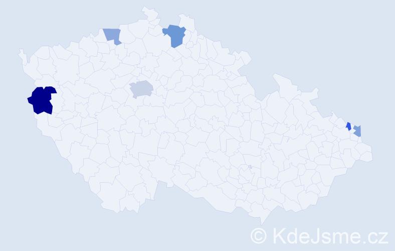 Příjmení: 'Čalfová', počet výskytů 10 v celé ČR