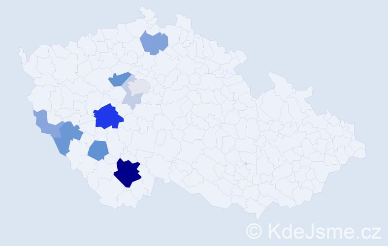 Příjmení: 'Kudlata', počet výskytů 31 v celé ČR