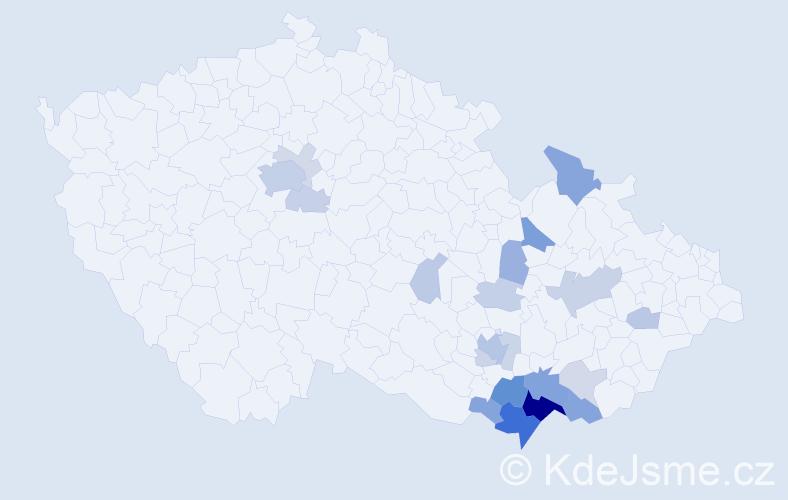 Příjmení: 'Líčeníková', počet výskytů 62 v celé ČR