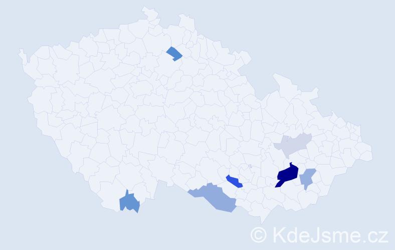 Příjmení: 'Blanarovič', počet výskytů 18 v celé ČR