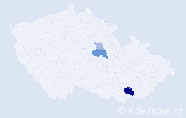 Příjmení: 'Čejglová', počet výskytů 7 v celé ČR