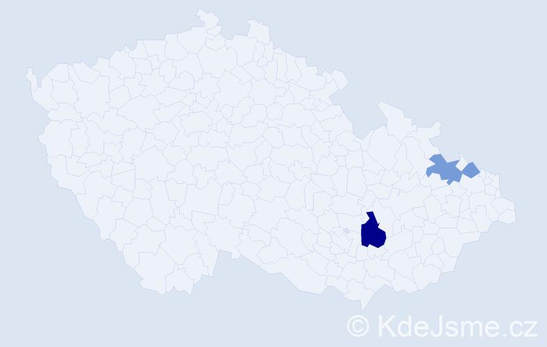 Příjmení: 'Čapec', počet výskytů 7 v celé ČR