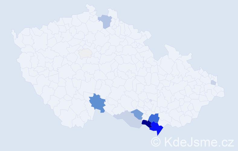 Příjmení: 'Jarec', počet výskytů 22 v celé ČR