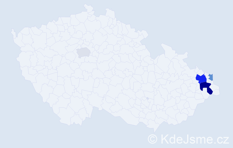 Příjmení: 'Lacká', počet výskytů 10 v celé ČR