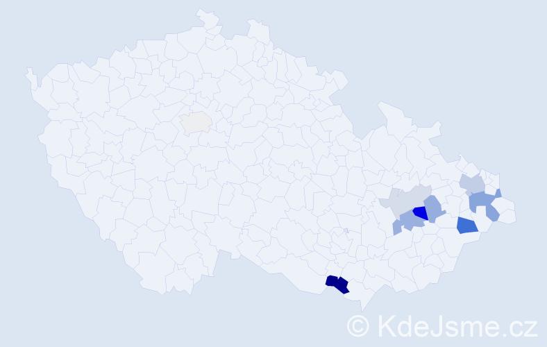 Příjmení: 'Gaďourek', počet výskytů 20 v celé ČR